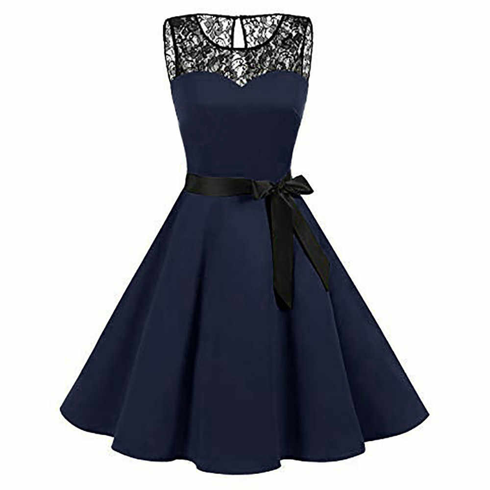 Women Sleeveless Solid Lace Hepburn Vintage Swing High-Waist Pleated Dress