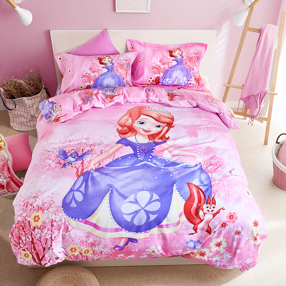 Disney sofia ensemble de literie rose dessin animé housse de couette drap plat taies d'oreiller unique reine taille linge de lit pour fille literie