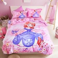 Disney sofia bedding set pink cartoon Duvet Cover Flat Sheet Pillow Cases Single Queen Size Bed Linen For girl bedding
