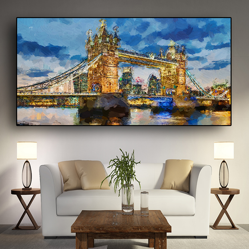 Abstract <font><b>Londo</b></font> Tower Bridge Posters and Prints Painting on Canvas Scandinavian Nordic Wall Pop Art Picture for Living Room Decor image