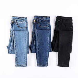Jeans Female Stretch Trousers Skinny-Pants Bottoms Feminino Black-Color for Women Donna