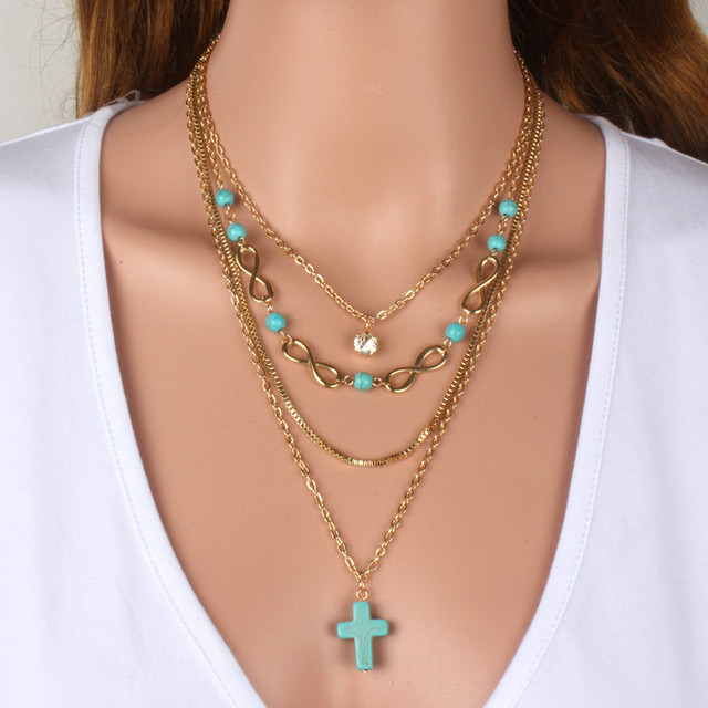 Fabulous Fashion Multilayer necklace gold cross Necklace Set Stacked  DQ52