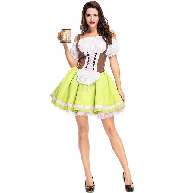 0f008279f07 US $26.88 |Adult Woman Oktoberfest Pullover Style Classic Bavarian Dirndl  German Beer Girl Fancy Dress Costume Plus Size Available on Aliexpress.com  | ...