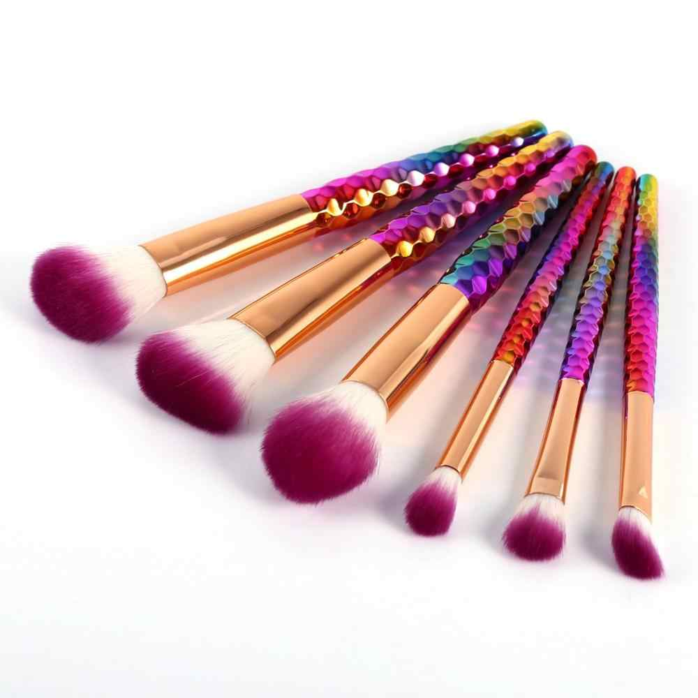 6PCS Colorful Makeup Brush Set Kit Comestic Powder Foundation Blush Contour Concealer Blusher Powder Cosmetic Tool