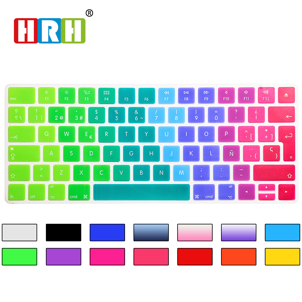 HRH ESP Spanjisht Rainbow Rainbow Cover Keyboard Lëkurë silikoni për Apple Magic Wireless Bluetooth Keyboard MLA22LL / A (A1644,2015 lëshuar)
