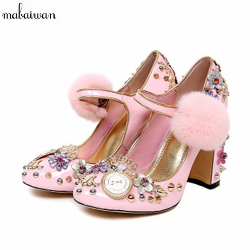 janes story ja025bwhed31 Mabaiwan Fashion Mary Janes Pink Women Shoes High Heels Pom Pom Rivets Wedding Dress Shoes Woman Handmade Pumps Valentine Shoes
