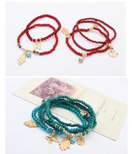 2017 Lucky Kabbalah Fatima Hamsa Hand Blue Evil Eye Butterfly Charm Bracelets & Bangles Multilayer Beads Turkish Pulseras
