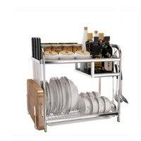 304 stainless steel kitchen Multifunction storage rack cutting board knife holder spice tableware organizers shelf wx8141642
