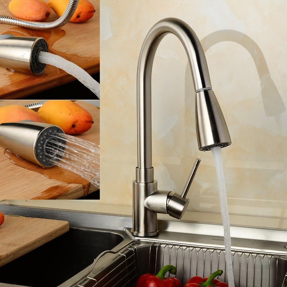 Lelah Nikel Tarik Keluar Kran Dapur 350 Mm Pipa Menarik Keran Dua Gaya Air 360 Derajat Putar Torneira Cozinha Di Kitchen Faucets Dari Perbaikan
