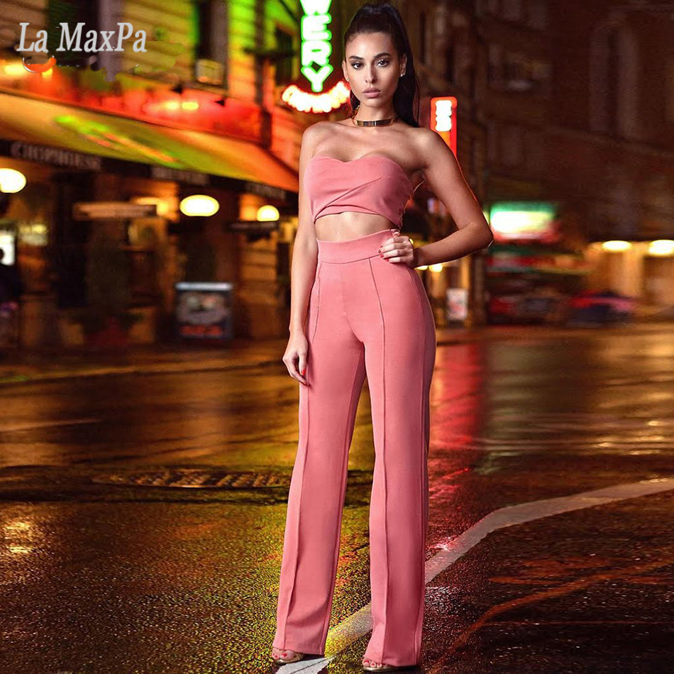 2017 Sexy Women Stretch 2 Piece Suit Trousers Pants Red Pink Summer Solid Color Pencil Pants Female High Waist Strapless Pants