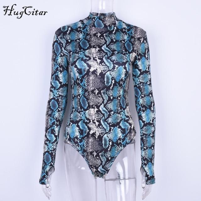 Hugcitar snake skin print long sleeve high neck fitted bodysuits 2019 autumn women streetwear clothing sexy snakeskin body 5