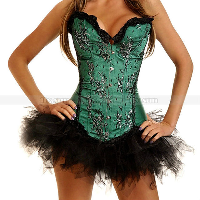 bae8ce88d4d Green Lace Overlay Sweetheart Corset Lace Up Bustier Sexy Party Wear +  Black TuTu Skirt S M L XL 2XL