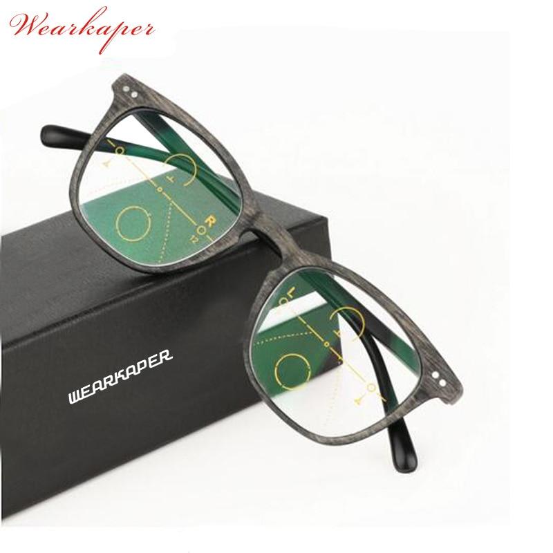 WEARKAPER Brand Vintage Multi-focal Progressive Reading Glasses Men Women Presbyopic Wood Eyeglasses For Male Female Eyewear