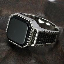 Настоящие Твердые 925 пробы серебряные турецкие кольца для мужчин черные кольца с камнем квадратный натуральный оникс винтажные мужские ювелирные изделия Anelli