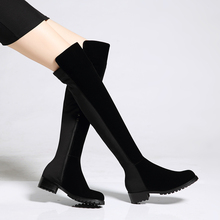 2016ฤดูหนาวของผู้หญิงแบนรองเท้าสูงเข่าอัศวินบู๊ทส์P Atchworkลื่นบนยาวรองเท้าสูงแบรนด์รองเท้าออกแบบสำหรับผู้หญิงร้อน