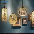 modern American 3D pendant light wrought iron glass pendant light led hanging lampfor restaurant living room