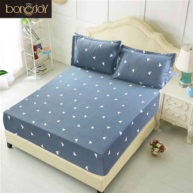 Bonenjoy Fitted Sheet With Pillowcase Twin Double King Size Bed Sheet With  Elastic Grey Color Geometric