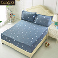 Bonenjoy Fitted Sheet With Pillowcase Twin Double King Size Bed Sheet with Elastic Grey Color Geometric Fitted Sheet Sets