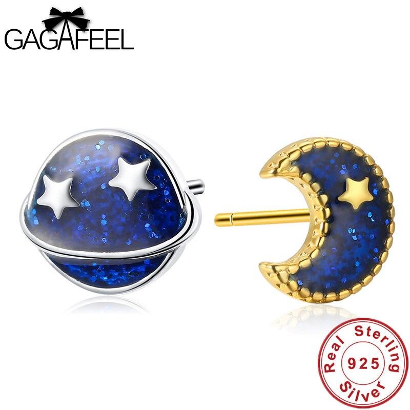 Sterling Silver STAR /& MOON Stud Earring