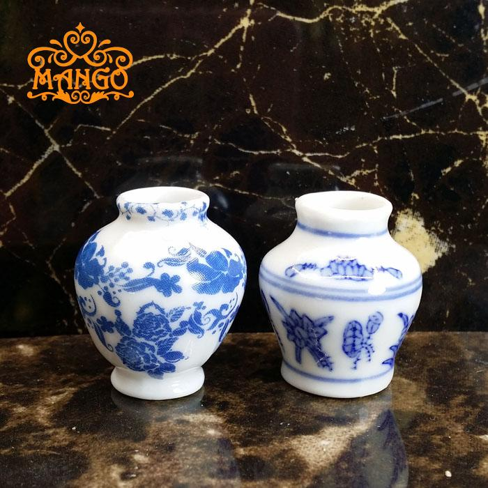 1/12 Dollhouse Miniature Blue Ceramic Vase  Chinese Style 2pcs Free Shipping