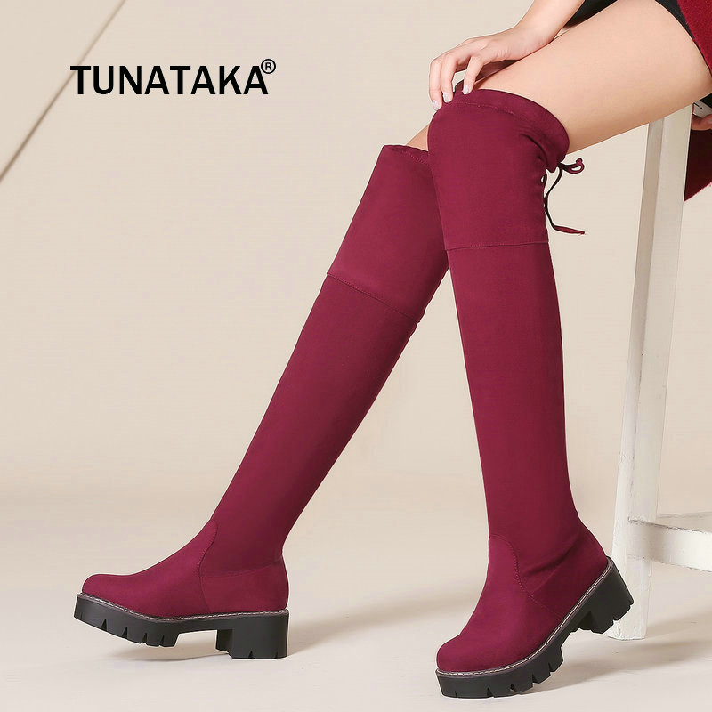 Ladies Platform Slip On Comfortable Square Heel Over The Knee Boots Fashion Cross Tied Elastic Thigh Boots Black Red Gray