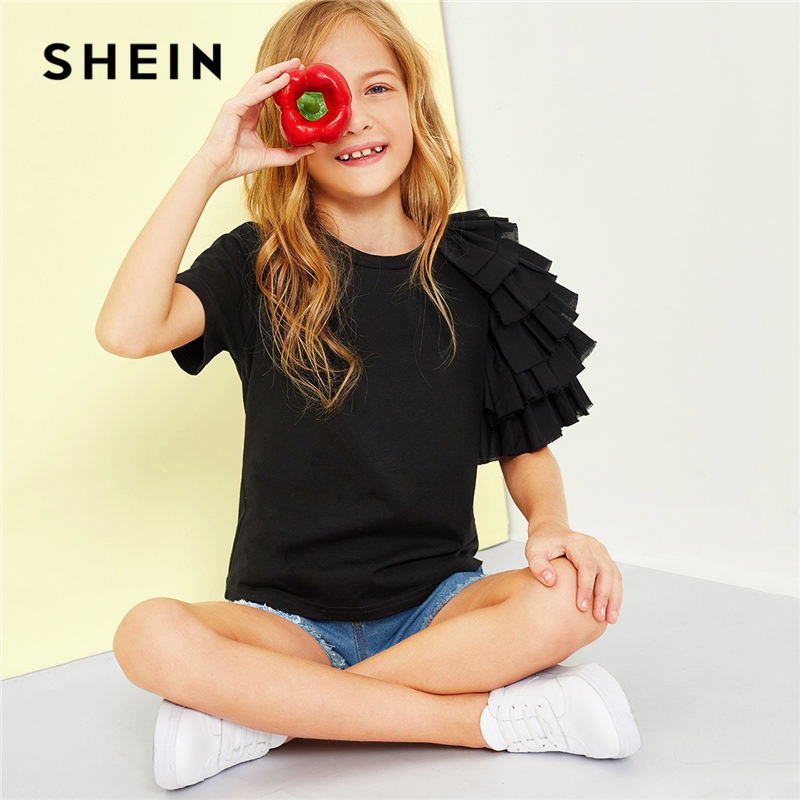 SHEIN Black Girls Layered Ruffle Sleeve Casual T-Shirt Girls Tops 2019 Spring Fashion Short Sleeve Elegant T-Shirts Girls Tee shein black elegant mock neck scallop trim cut out v collar short sleeve solid tee summer women weekend casual t shirt top