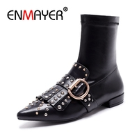 ENMAYER 2018 Brand Design Tassel Rivet Boots Natural Leather Stretch Ankle Boots Women Pointed Toe Shoes