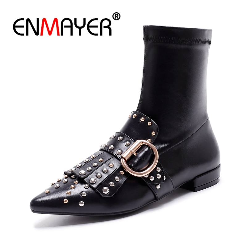 ENMAYER 2018 Brand Design Tassel Rivet Boots Natural Leather Stretch Ankle Boots Women Pointed toe Shoes Woman Chunky Heel CR339