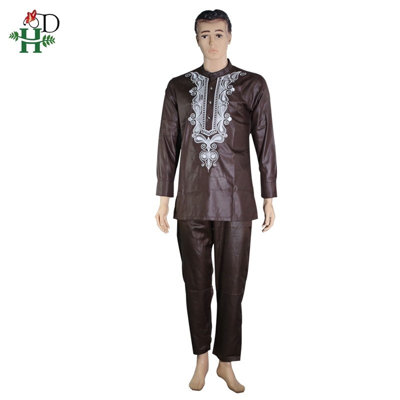 H&D 2019 african couple dress african suits for women and men riche embroidery design Dashiki shirt pant set outfit suit clothes