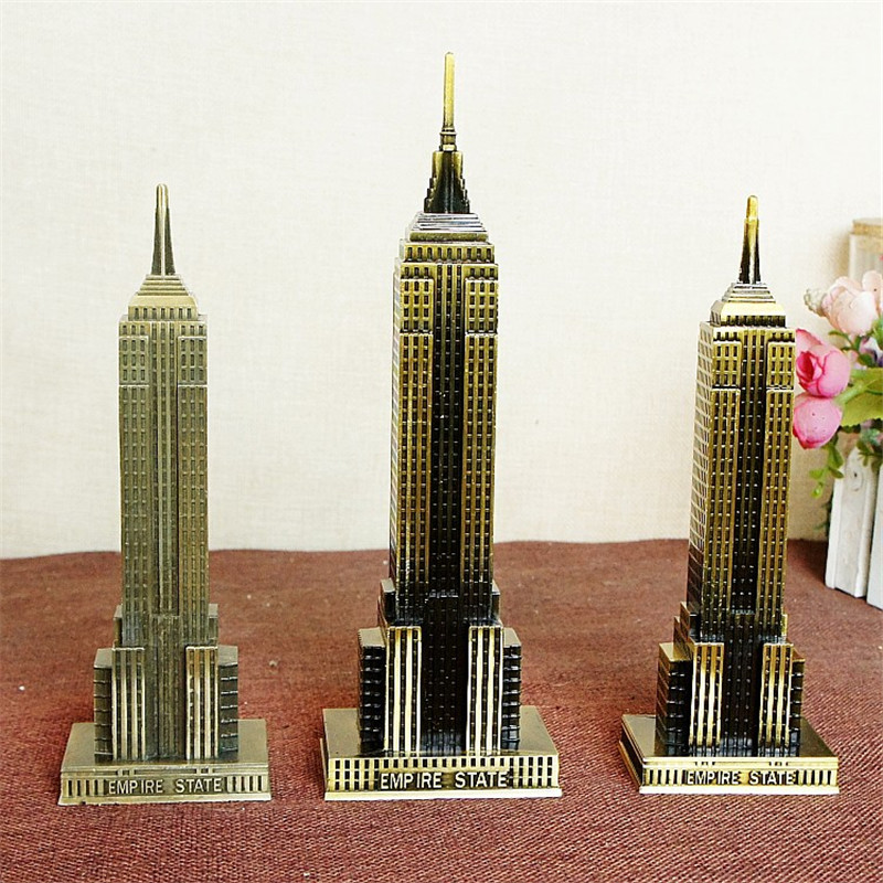 Metalen 3D Beroemde Empire State Building Brons Craft Tower miniaturas Standbeeld Ornamenten Gift Thuis Desktop Decoratie Accessoires