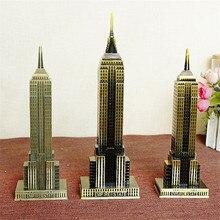 Metal 3D Famous Empire State Building Bronze Craft Tower miniaturas Statue Ornaments Gift Home Desktop Decoration Accessories