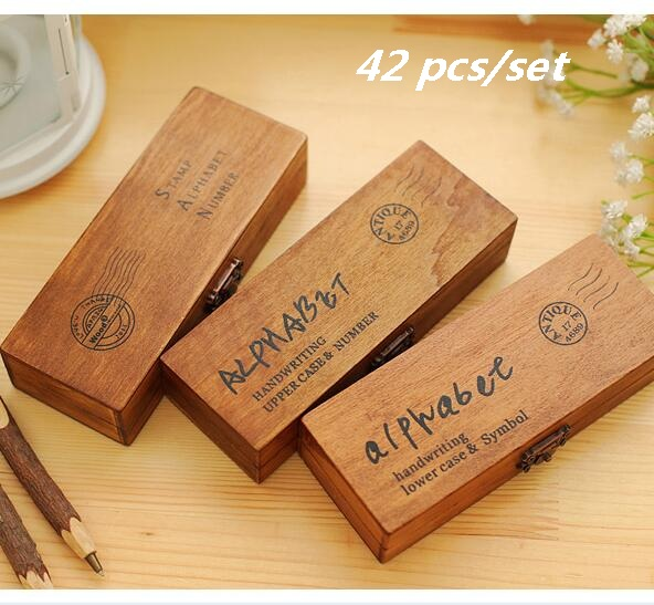 42PCS/set  Handwriting Alphabet Letter Wooden Stamp Set / DIY Decorative Stamp Wooden Box/ Funny Work/ 3designs For Choose