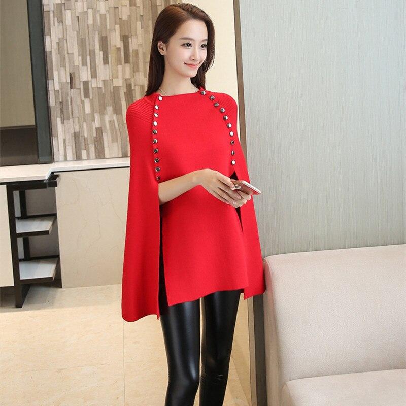 Роскошные вечерние, Клубные, женские, шерстяные накидки, шаль, пуговицы, элегантный вязаный свитер, накидка, зимние пончо, Свободный пуловер, длинный вязаный джемпер - Цвет: Красный
