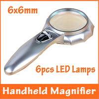 6x60mm Handheld Illuminated Light Magnifying Glass Reading Old Man Pocket Magnifier With 6 LED Lamps For