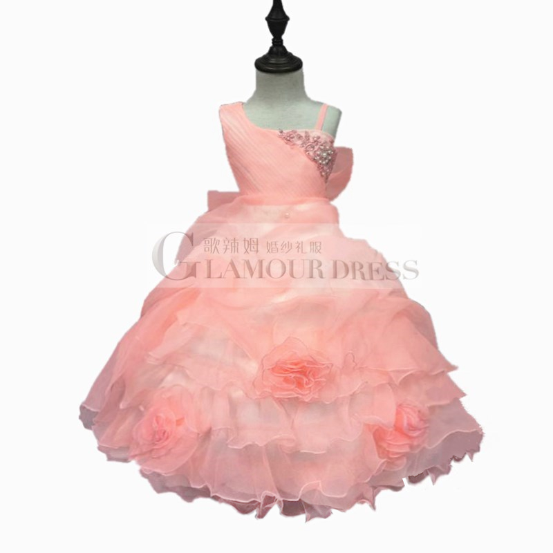 Elegant One Shoulder Girl Party Dress 2015 new Pageant Ball Gown For Girls Peach Flower Girl Dress Factory Hot Sales 1508D