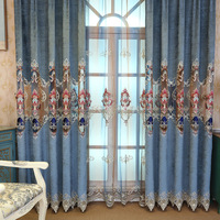 High grade Double sided Chenille Velvet Curtains for Living Dining Room Bedroom Embroidered Window Screen European Curtain