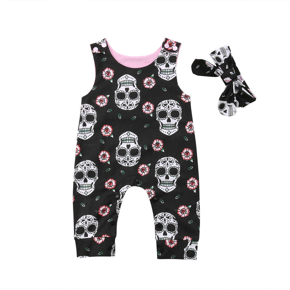465995476f6c Halloween Newborn Baby Rompers Boys Girls Skull Flower Romper Jumpsuit 2PCS Outfit  Costume Holiday Cute Baby