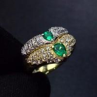 Fine Jewelry Pt900 Platinum Real Diamonds 100% Natural Emerald 0.44ct Gemstones Female Wedding Rings for women Fine Ring