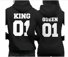 2016 New Arrival Early Spring And Autumn Printing Hoodies king01queen01 Couples Hoodies Casual And Thin cotton Hoodies