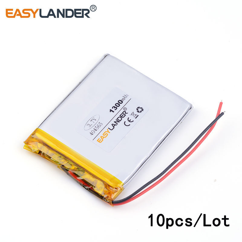 10pcs /Lot 3.7v lithium Li ion polymer rechargeable battery 404565 1300MAH For tablet pc ...