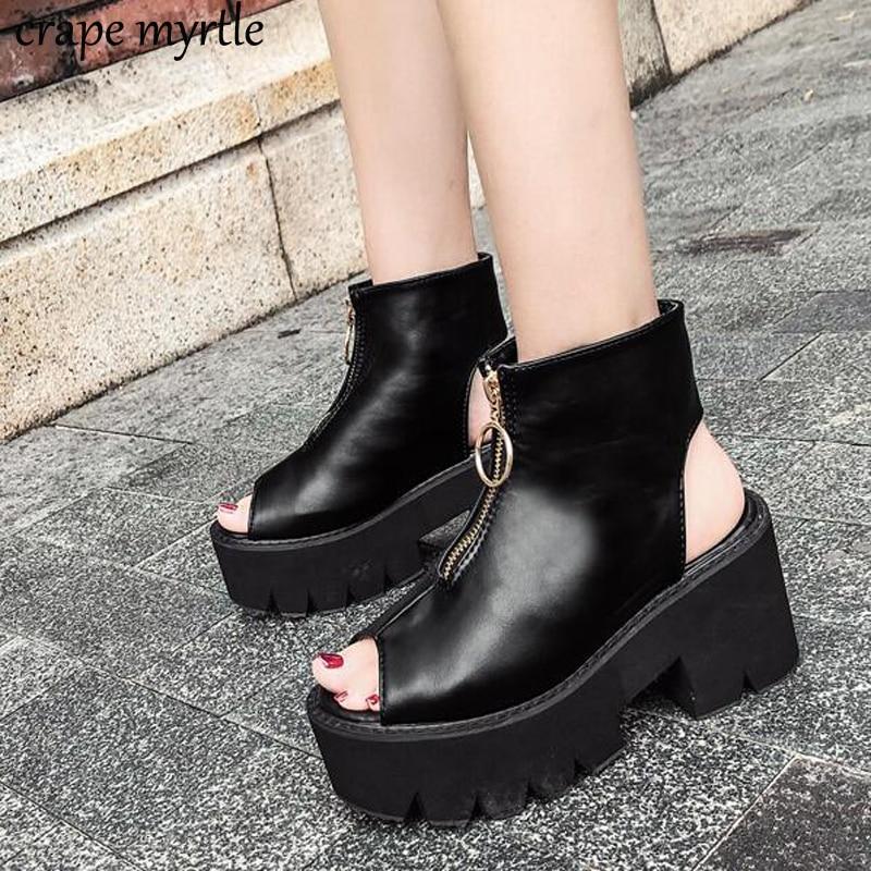 gladiator sandals women summer shoes 2019 lace up Sandals Platform Shoes thick heel sandals strap-heels platform Sandals YMA534 Обувь