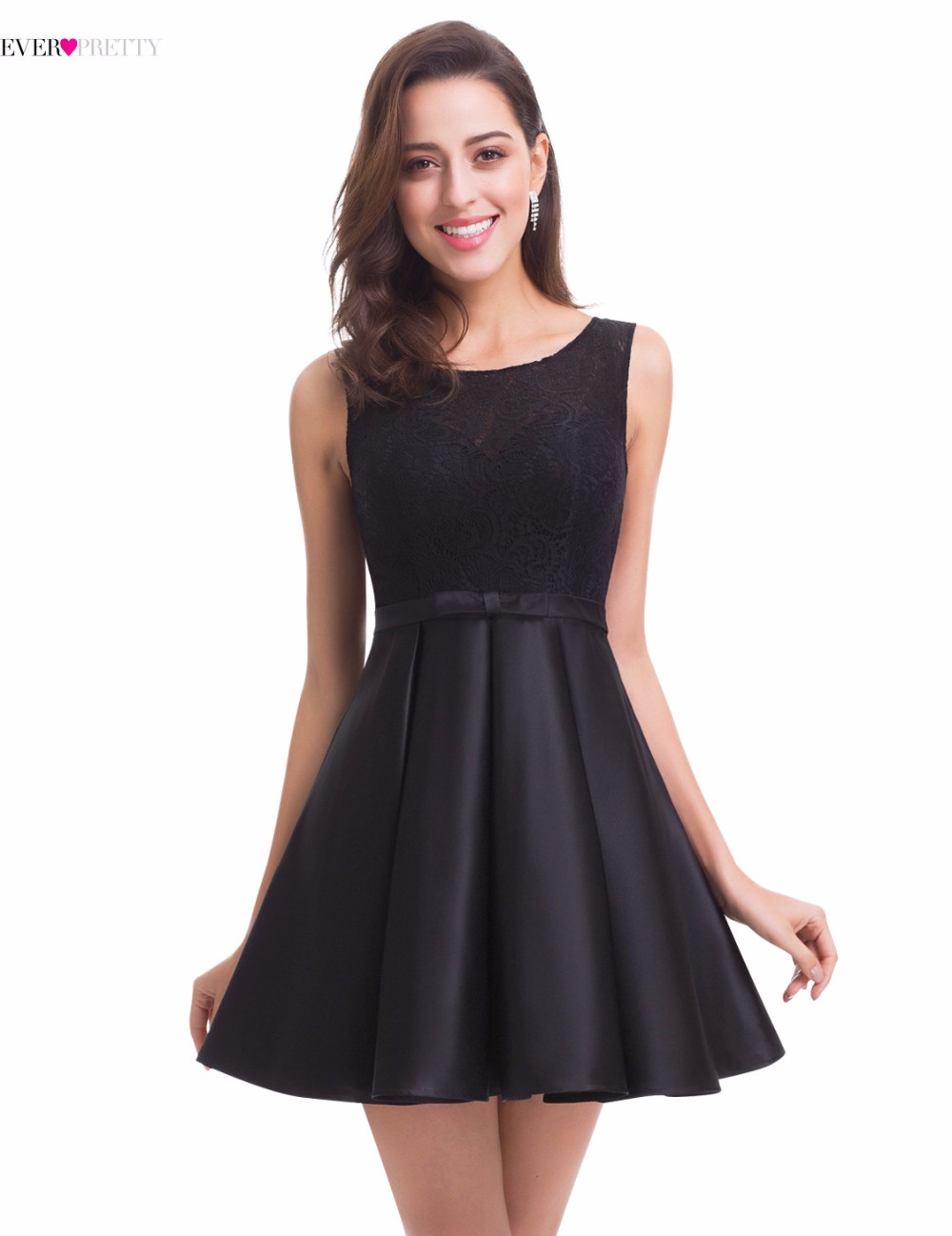 Elegant Black Cocktail Dress Ever-Pretty EP05777BK Knee Length Round ...