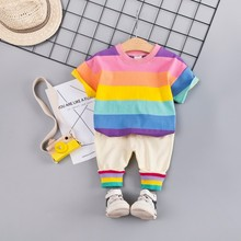 Summer Baby Girls Boys Clothing Sets Toddler Infant Clothes Suits Cotton Rainbow T Shirt Strap Shorts Kids Children Costume SETs casual summer gentleman style kids boys clothing sets cotton sling strap costume shirt short jeans boys clothes suits