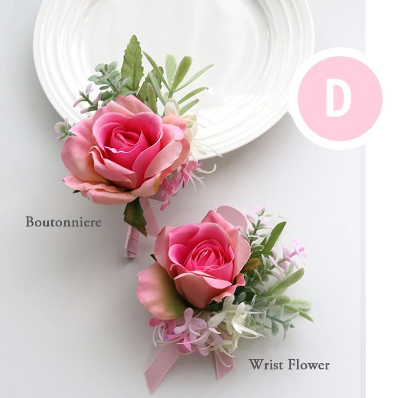 pink wrist corsage boutonniere wedding  (20)