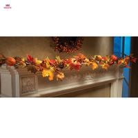 MUQGEW 1.8 M LED Verlichte Fall Herfst Pompoen Maple Bladeren Garland Thanksgiving Decor 3XAA batterij