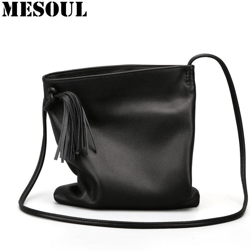 все цены на MESOUL Soft Genuine Leather Women Messenger Bags Small Crossbody Bag Female Fashion Shoulder Bags For Women Cowhide Tassel Bag