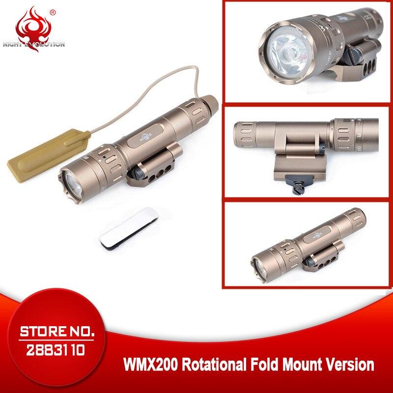 Night Evolution Airsoft Gun armas Softair IR Weapon Light WMX200 Rotational Fold Mount Strobe Tactical Scout