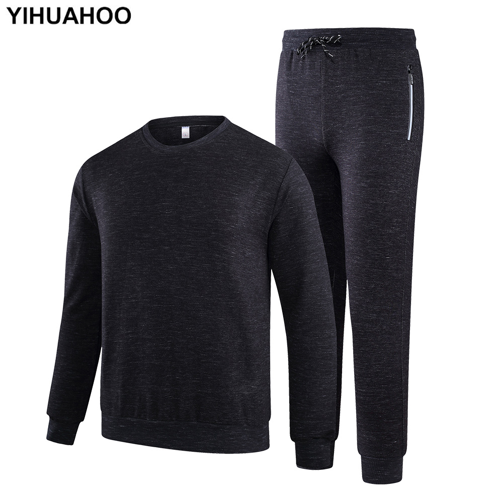 YIHUAHOO Tracksuit Men Winter Autumn Clothing Set 2PCS Sweatshirts And Sweatpants Two-Piece Sportswear Track Suit Man KSV-TZ080