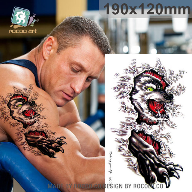 Mc750 Populaire Loup Tatouage Temporaire Autocollants Body Art