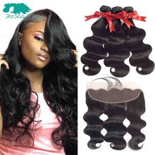 Allrun Hair 13x4  Ear To Ear Lace Frontal With Bundles Peruvian Body Wave Human Hair Bundles With Closure Lace Frontal Non Remy стоимость